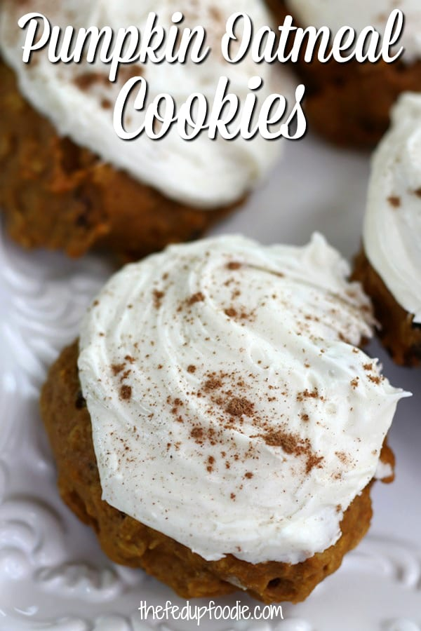Soft, flavorful and not overly sweet, these Pumpkin Oatmeal Cookies are an old fashioned and from scratch recipe straight from my mom's recipe box. With cream cheese icing these cookies have been absolute family favorite since the 1970's.  #PumpkinCookies #HealthyPumpkinCookies #WithCreamCheeseIcing #OldFashionedPumpkinCookies #HomemadePumpkinCookies #FromScratchPumpkinCookies https://www.thefedupfoodie.com/