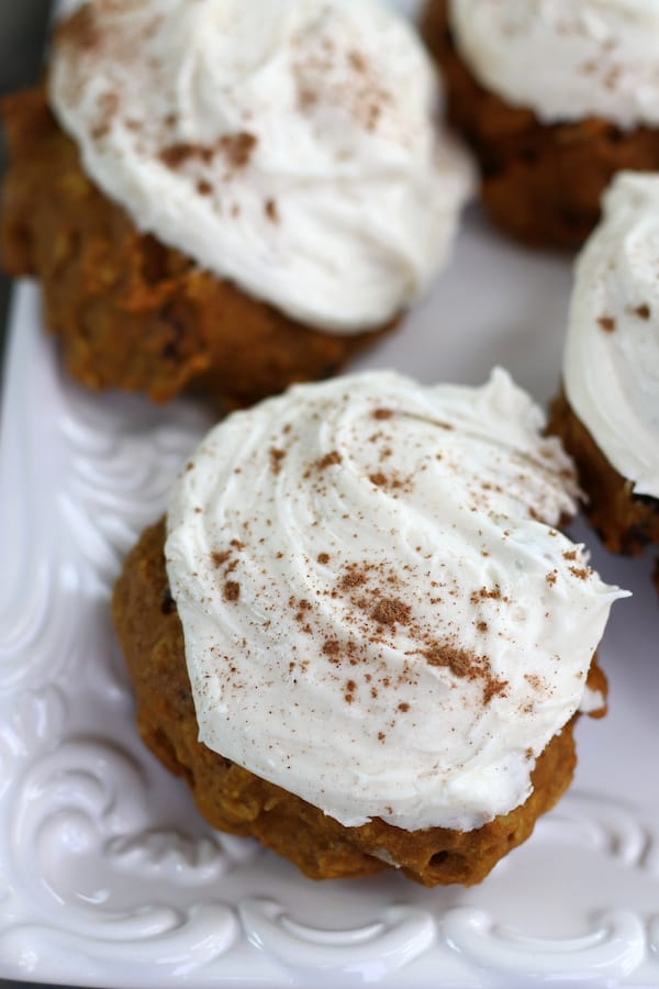 Overhead photo of Pumpkin Spice Cookies with cream cheese icing.