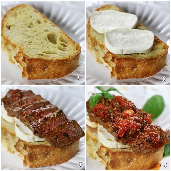 Steak Pizzaiola Sandwich preparation steps.