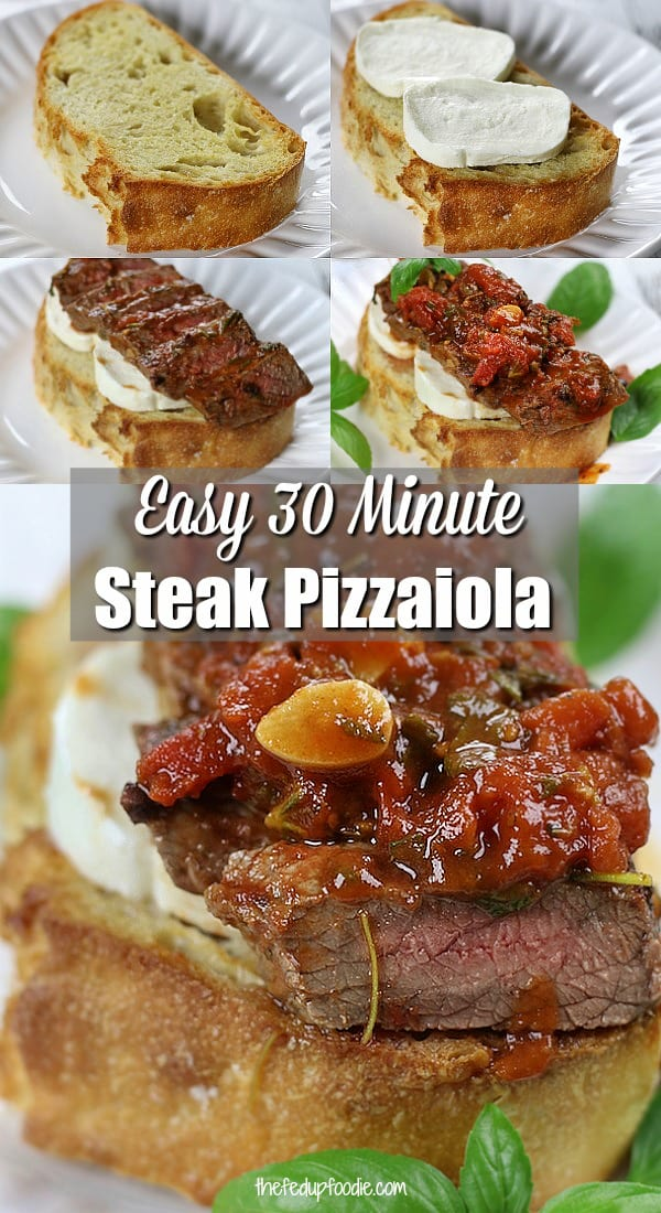 Bursting with Italian flavors and easy enough for a weeknight feast, garlic toast covered with Steak Pizzaiola makes for a delicious Italian sandwich. #SteakPizzaiola #ItalianRecipes #HotSandwich #EasyDinnerRecipes https://www.thefedupfoodie.com/