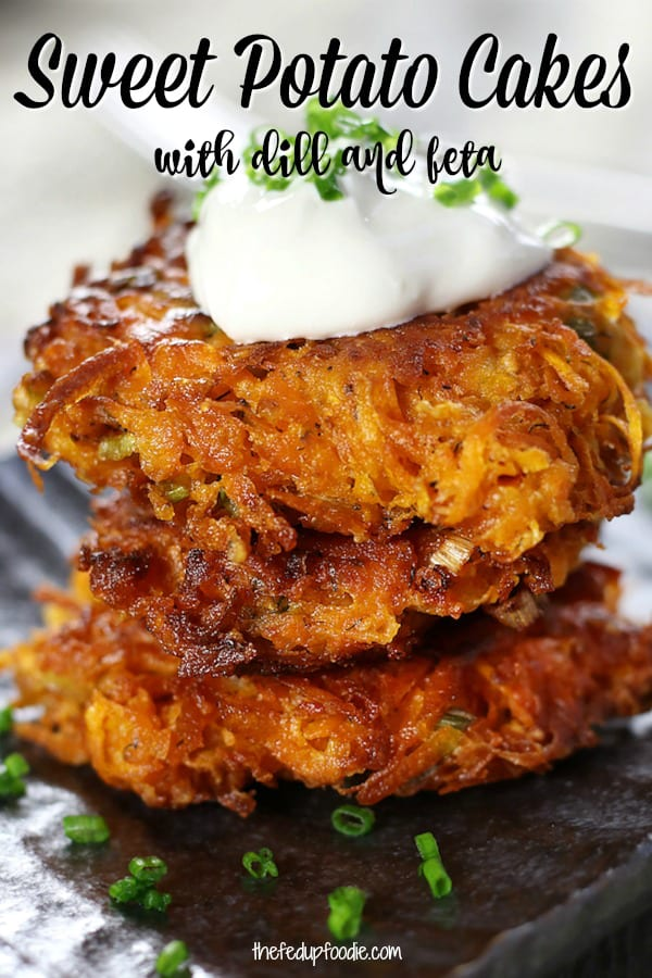 Sweet Potato Cakes recipe is a fun twist off of Sweet Potato Latkes. Made with feta, dill and smoked paprika, these are delicious for breakfast or dinner. Top with sour cream and chives for a delicious Fall treat.