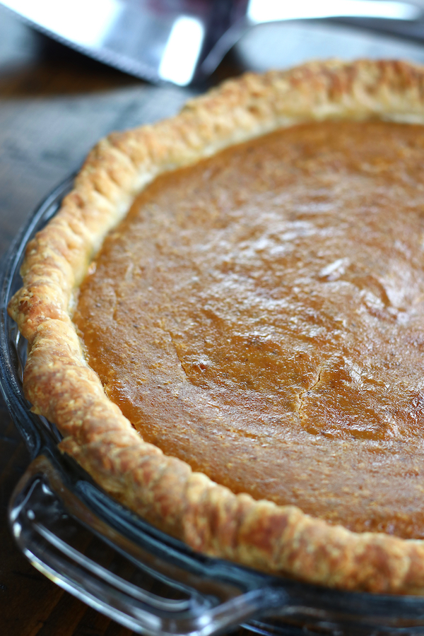 Whole Old Fashioned Pumpkin Pie with a flaky homemade crust.