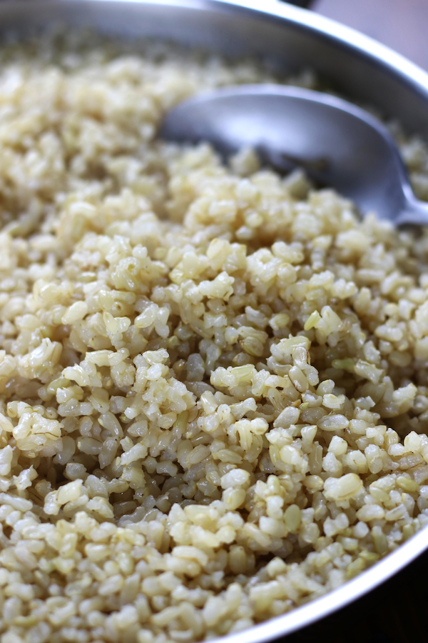 Best Brown Rice Recipe after being cooked in a frying pan.