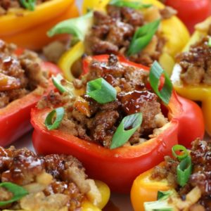 Up close photo of Asian Chicken Stuffed Peppers.