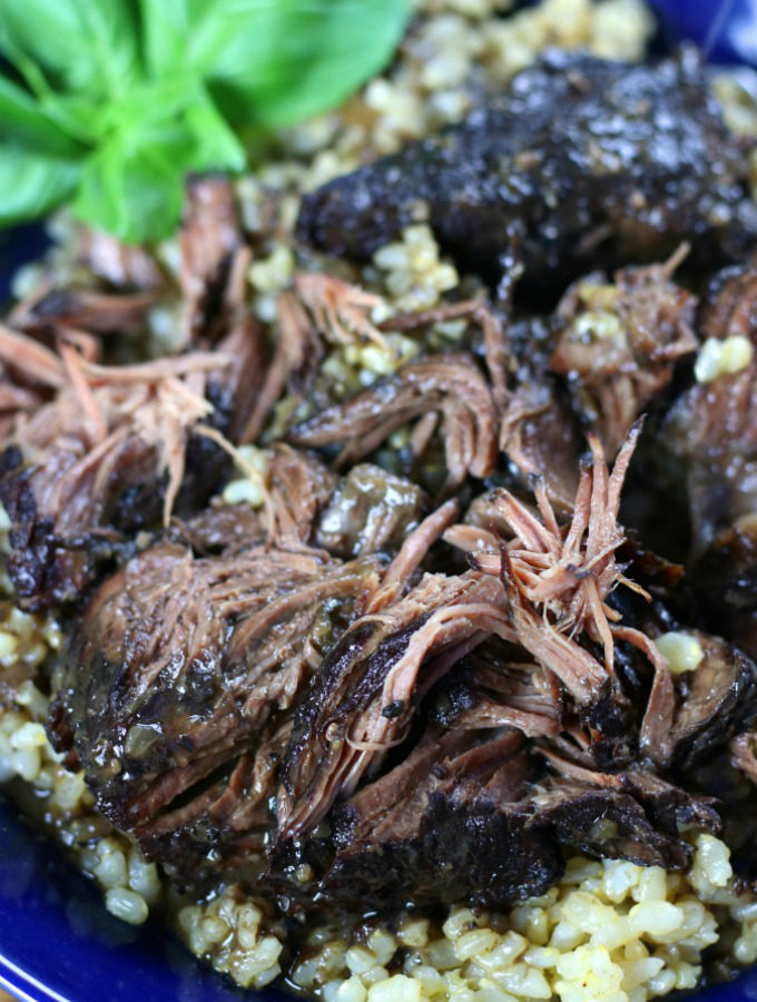 Shredded beef over brown rice from Peposo recipe.