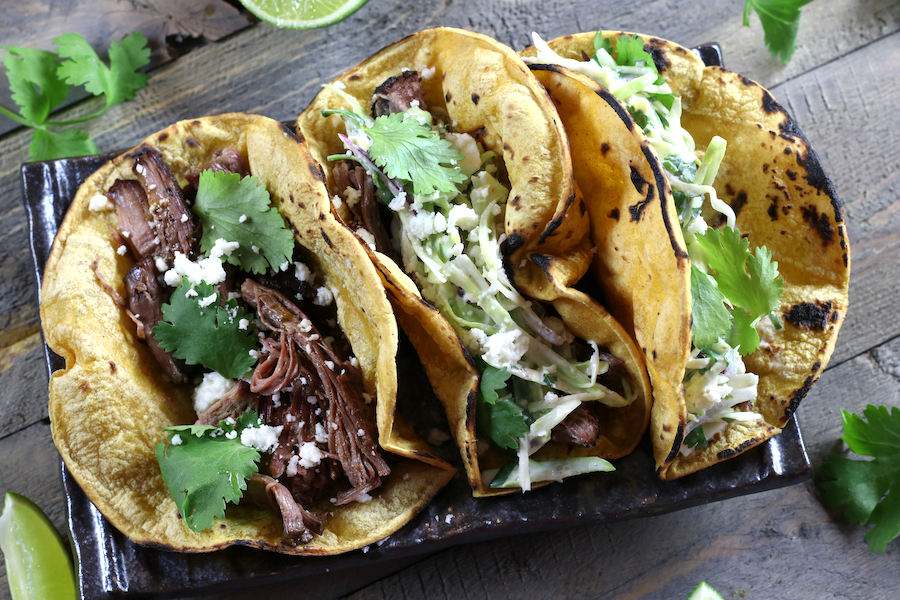 Overhead photo of Pulled Beef Tacos with Slaw.