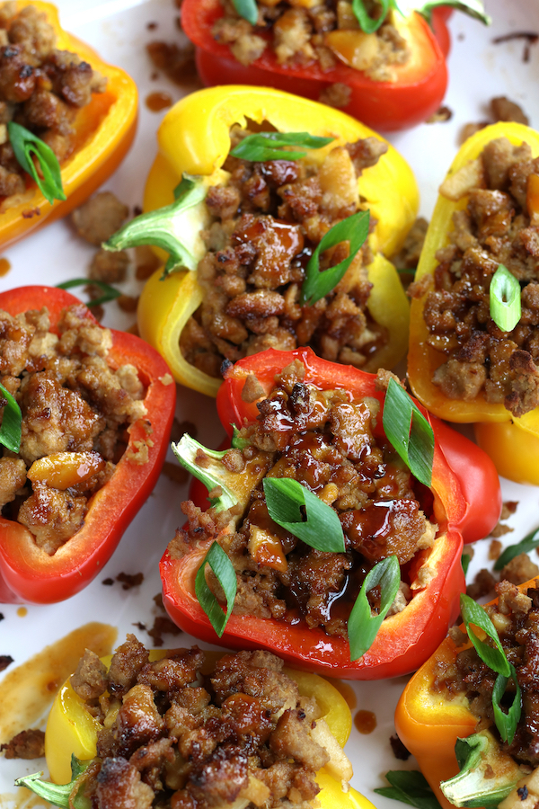 Stuffed Peppers drizzled with a sticky Asian sauce.