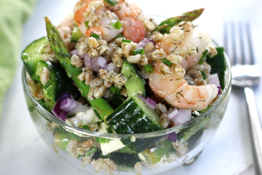 A serving of Ancient Grain Salad made with Farro and shrimp.