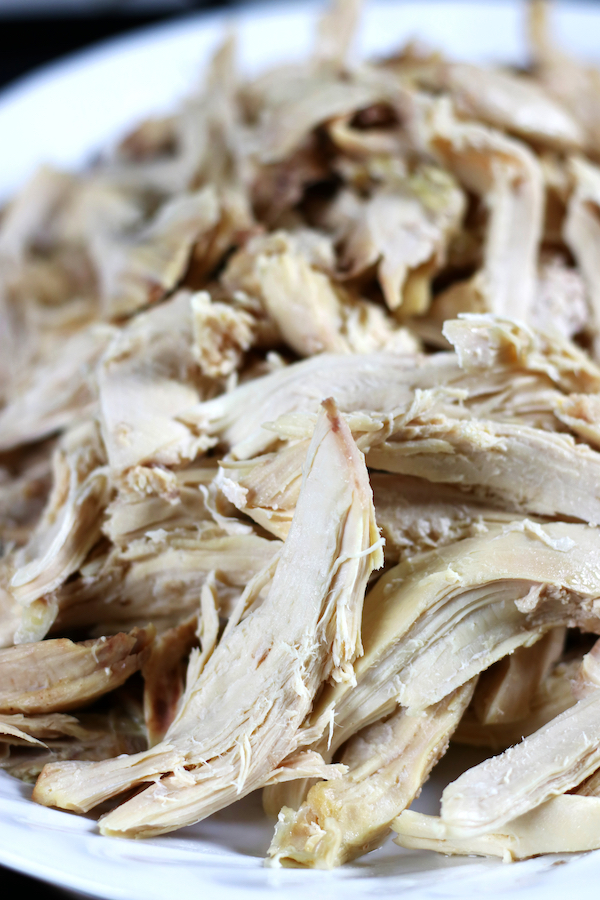 Shredded chicken from a Boiled Whole Chicken.
