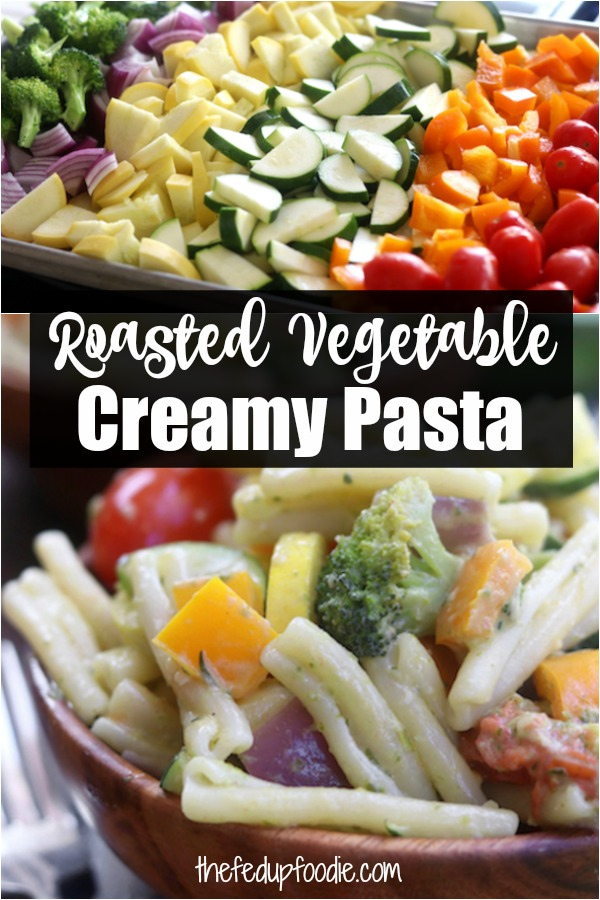Creamy Pesto Vegetable Pasta recipe is a quick Mediterranean dinner and delicious way to eat veggies that are in season. Made with roasted veggies, pesto and goat cheese, it is aperfect solution for healthy lunch meal prep. My family devoured the first batch and I immediately made more. #PestoPasta #Pasta https://www.thefedupfoodie.com
