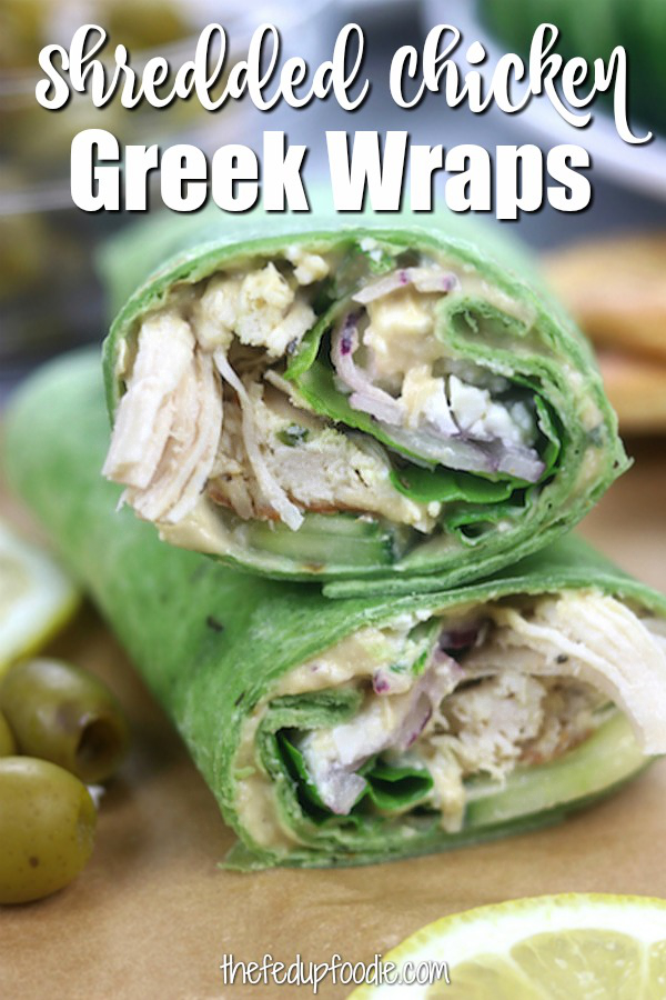 Instant Pot Greek Chicken Wraps are a healthy and delicious meal great for packed work lunches or as a quick dinner. Tender shredded chicken with all your favorite Greek fixings. #ChickenWraps #Lunch https://www.thefedupfoodie.com