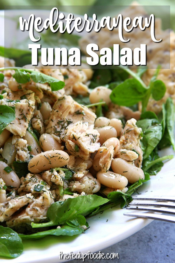 Mediterranean Tuna Salad is a fast and healthy recipe perfect for lunch or dinners with no cooking. This recipe is light, satisfying and packed with flavor. It's the perfect meal to keep you in your skinny jeans. #TunaSalad #HealthyTunaSalad #EasyTunaSalad https://www.thefedupfoodie.com