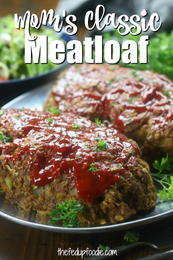 Mom's Classic Meatloaf recipe creates a moist, melt in your mouth family favorite dinner. So flavorful, with tender sautéed onions and celery. This traditional meatloaf is made with simple ingredients and yet feels gourmet. #MeatLoafRecipes #MeatLoaf #EasyMeatLoaf #EasyMeatLoaf https://www.thefedupfoodie.com
