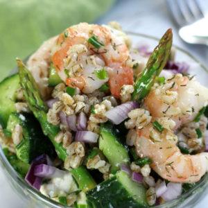 Up close photo of a serving of Shrimp and Farro Salad.