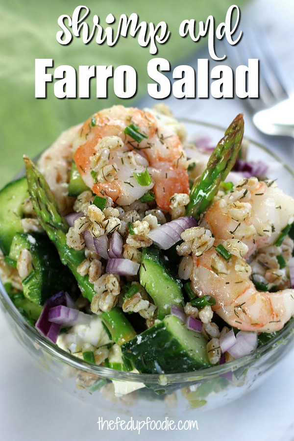 The complex nutty taste of the ancient grain Farro pairs well with the fresh flavors of dill, cucumber and asparagus. With the cheese and shrimp, this Farro and Shrimp Salad becomes over the top delicious. A great cold Mediterranean salad perfect for spring and summer dinners.
