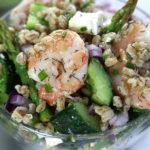 Overhead photo of a bowl of Summer Farro Salad.