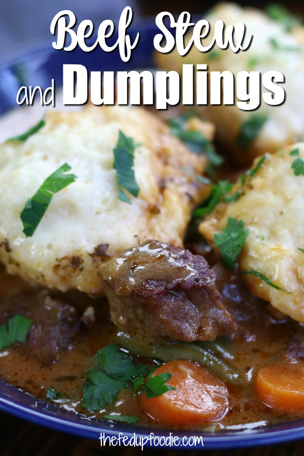 This Beef and Dumplings recipe is for the dumpling lovers! Hearty beef stew with large fluffy homemade dumplings comes together in just a little over 90 mins. Comforting, flavorful and easy to make. #BeefAndDumplings #BeefStewWithDumplings #HowToMakeDumplings https://www.thefedupfoodie.com