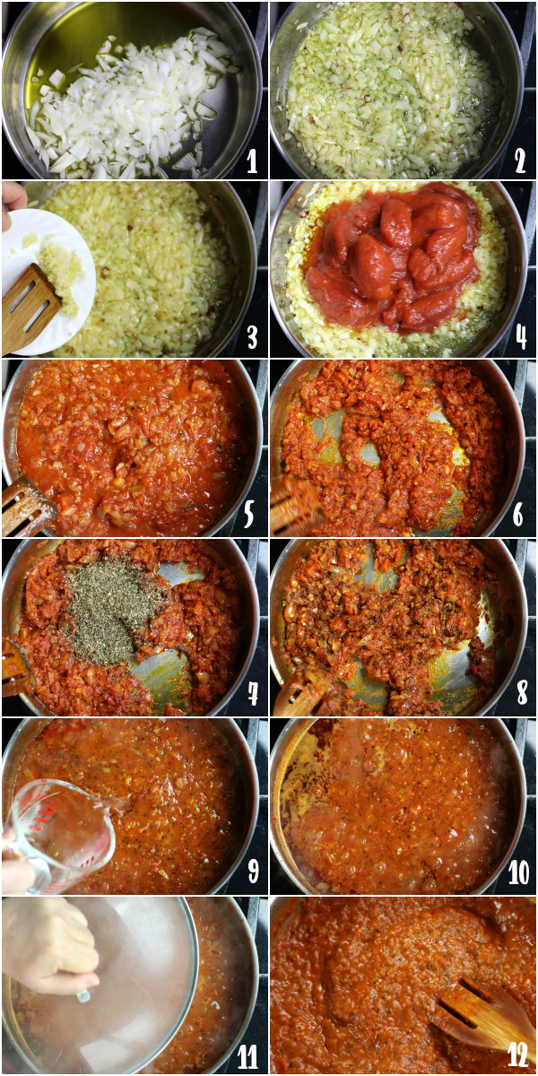 Steps for making Napolitana sauce.