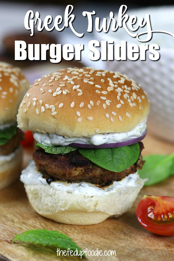 Simple, refreshing and filling, Greek Turkey Burgers Sliders are a fun and healthy alternative to the traditional American hamburger. With feta, Greek Tzatziki and fresh mint. #TurkeyBurgerRecipes #HealthyTurkeyBurger #TurkeySliders https://www.thefedupfoodie.com