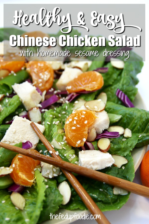 This Lazy Day Chinese Chicken Salad is a low stress recipe that makes eating your veggies a ton of fun. Crisp veggies, juicy tangerine slices, tender baked chicken and a homemade sesame dressing makes for an easy and delicious dinner perfect for lazy days.