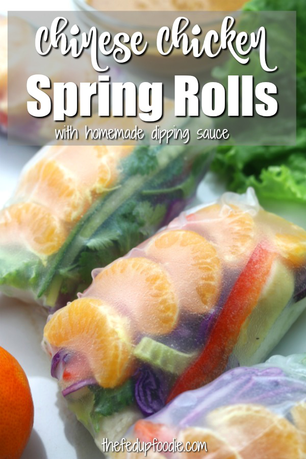 Chinese Chicken Spring Rolls are packed with fresh veggies, mandarin oranges, baked chicken and an incredibly delicious almond dipping sauce. This easy and healthy recipe is a twist on Chinese chicken salad and is perfect as an appetizer, lunch or light dinner. Instructional video included. #SpringRolls #SpringRollsRecipe #ChickenSpringRolls #SpringRollsWithDippingSauce https://www.thefedupfoodie.com