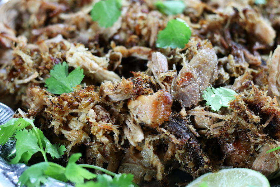 Up close photo of Pork Carnitas meat.