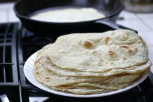 A Stack of Fresh Homemade Flour Tortillas