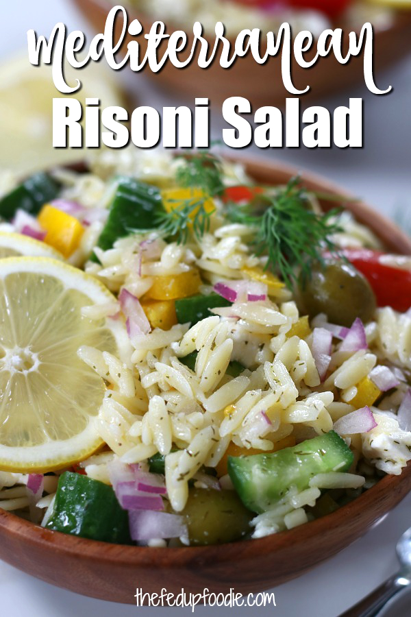 Mediterranean Risoni Salad (aka Orzo Pasta Salad) has the flavors of lemon, dill and feta. Quick and easy, this salad is wonderful as a side dish or as a light lunch or dinner with the addiction of your favorite protein. 