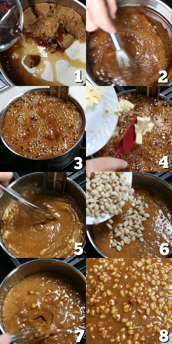 Steps for making Homemade Peanut Brittle.