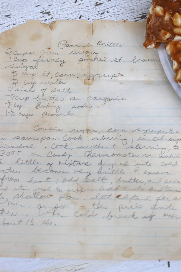 My Mom's handwritten Old Fashioned Peanut Brittle Recipe.