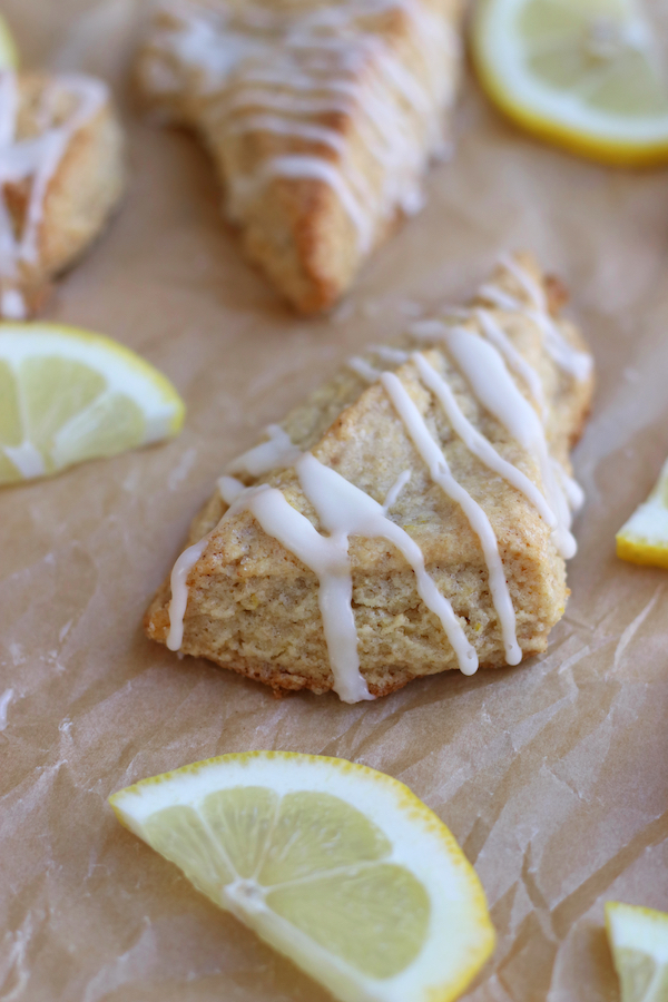 Scones slayed out with lemon slices from Soft Lemon Scones Recipe.