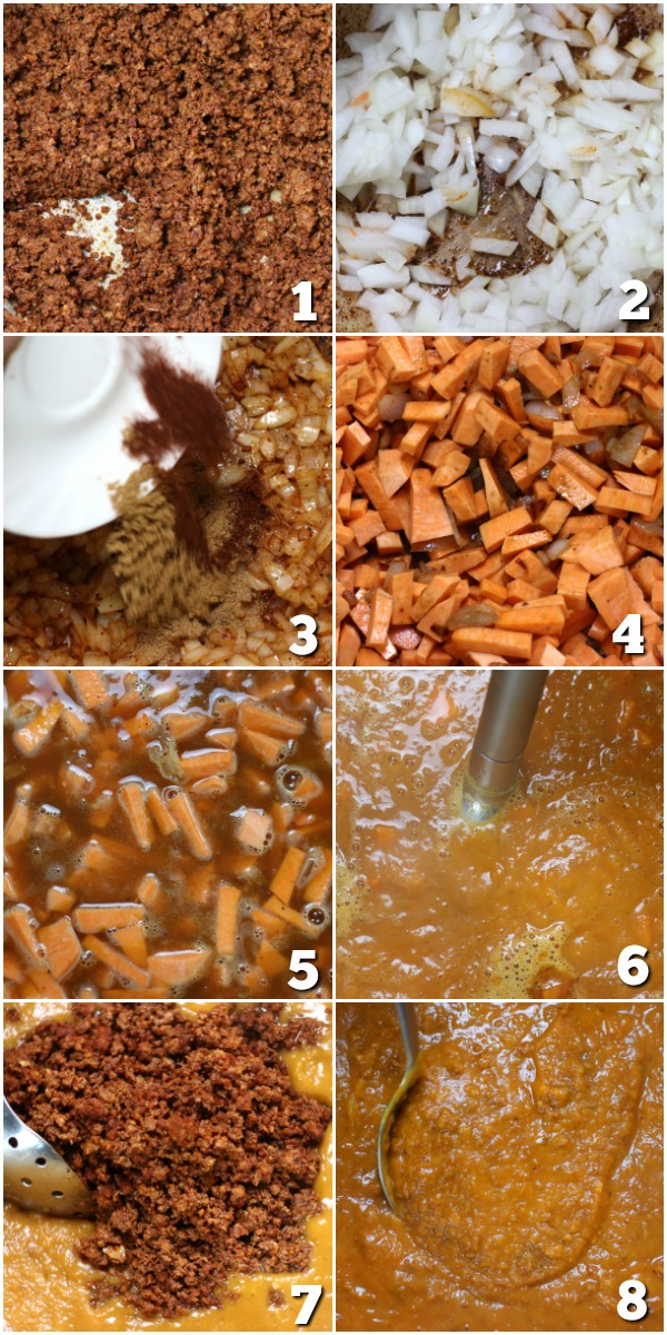 Steps for making Sweet Potato and Chorizo Soup.