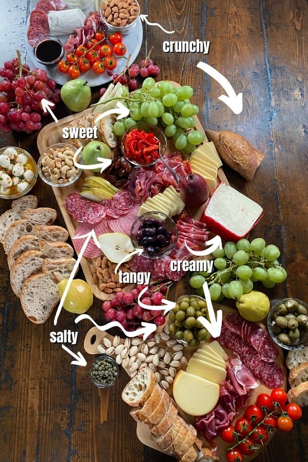 Charcuterie Board with Sweet, Creamy, Crunchy, Salty and Tangy ingredients.