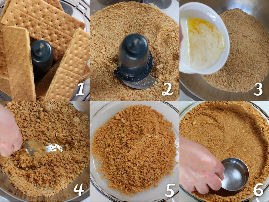 Showing the steps to making a Graham Cracker Crust for Cream Cheese Pie.