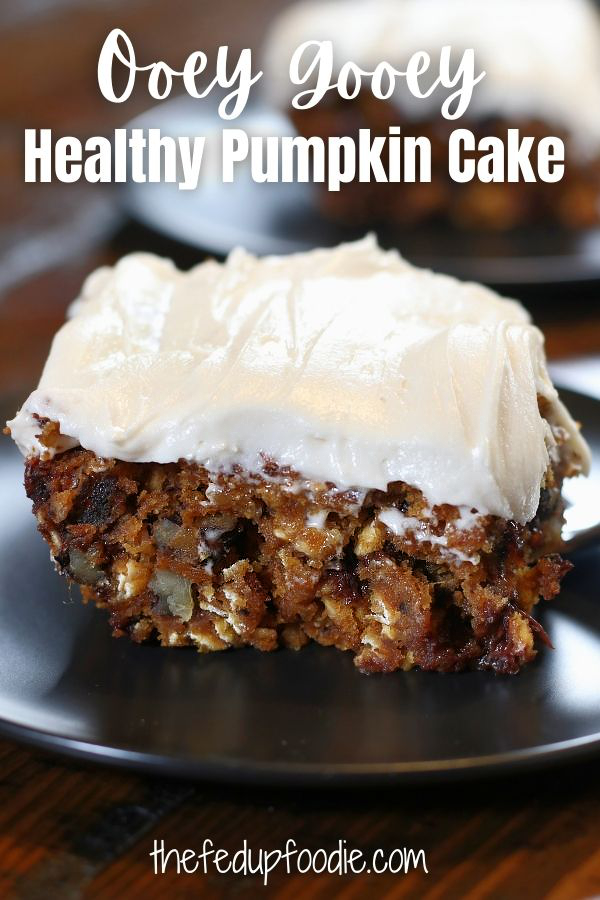 Ooey Gooey Healthy Pumpkin cake is loaded with wholesome ingredients and turns out moist and decadent. Easy to make and with its wonderful flavor this is the perfect fall dessert. 