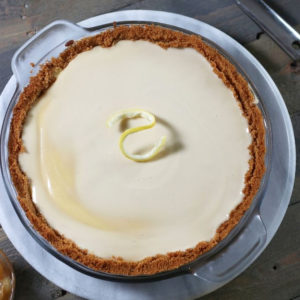 Overhead photo of Old Fashioned Cream Cheese Pie.