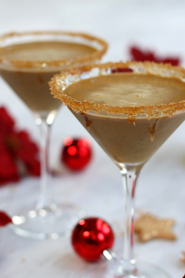 Two servings of Gingerbread Martini Recipe in martini glasses.