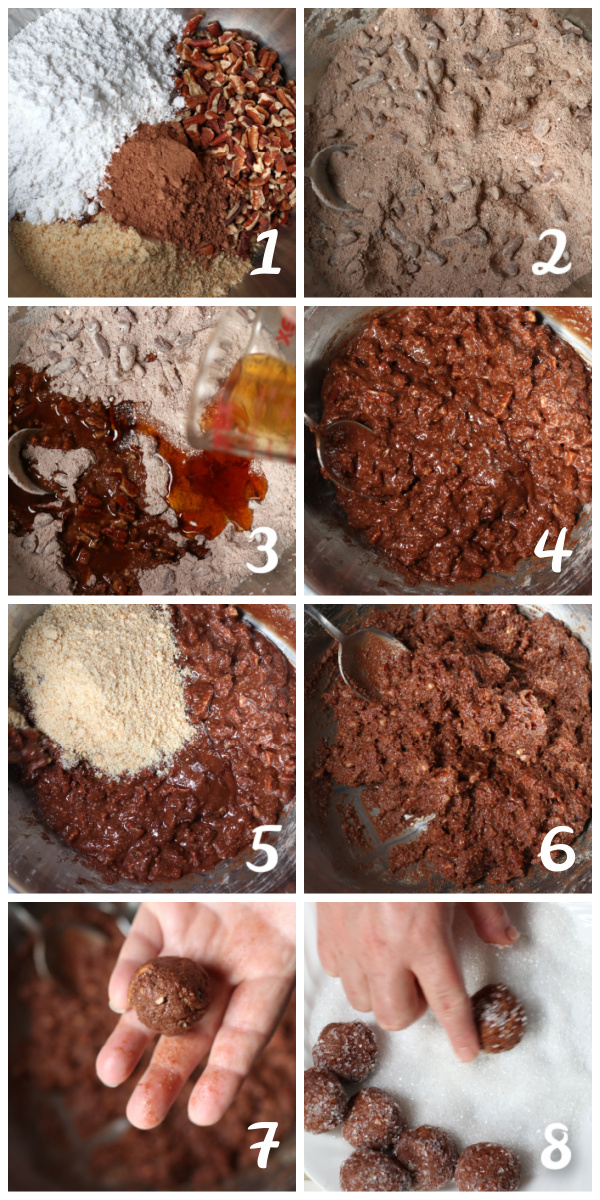 Photo collage of Steps for Making Rum Balls.