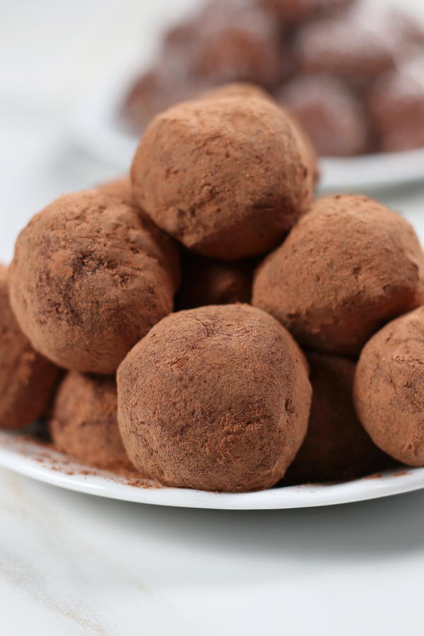 Traditional Rum Balls rolled in cacao powder.