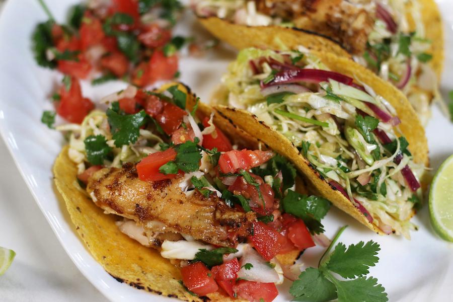 Up close photo of Baja California Tacos with Marinated Baja Chicken.