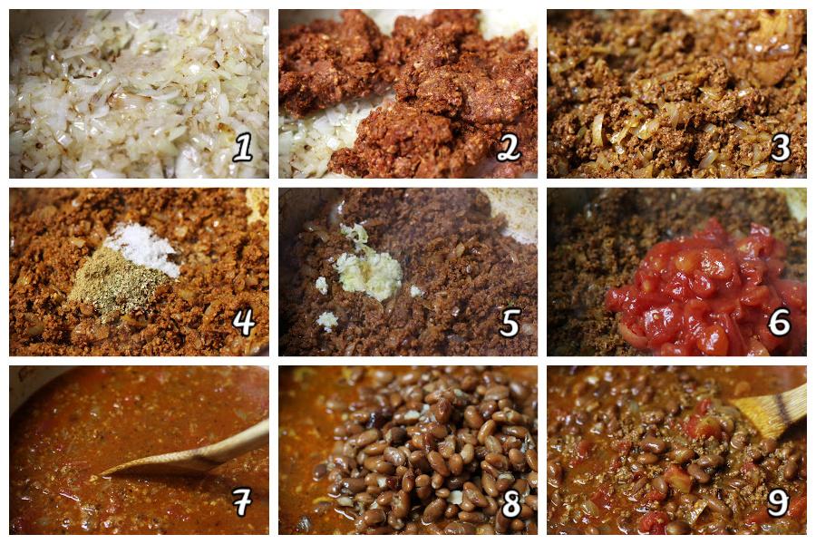 Steps for making Chorizo Pinto Bean Soup.