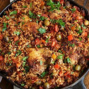 Overhead photo of Chicken and Chorizo Casserole in a cast iron frying pan.