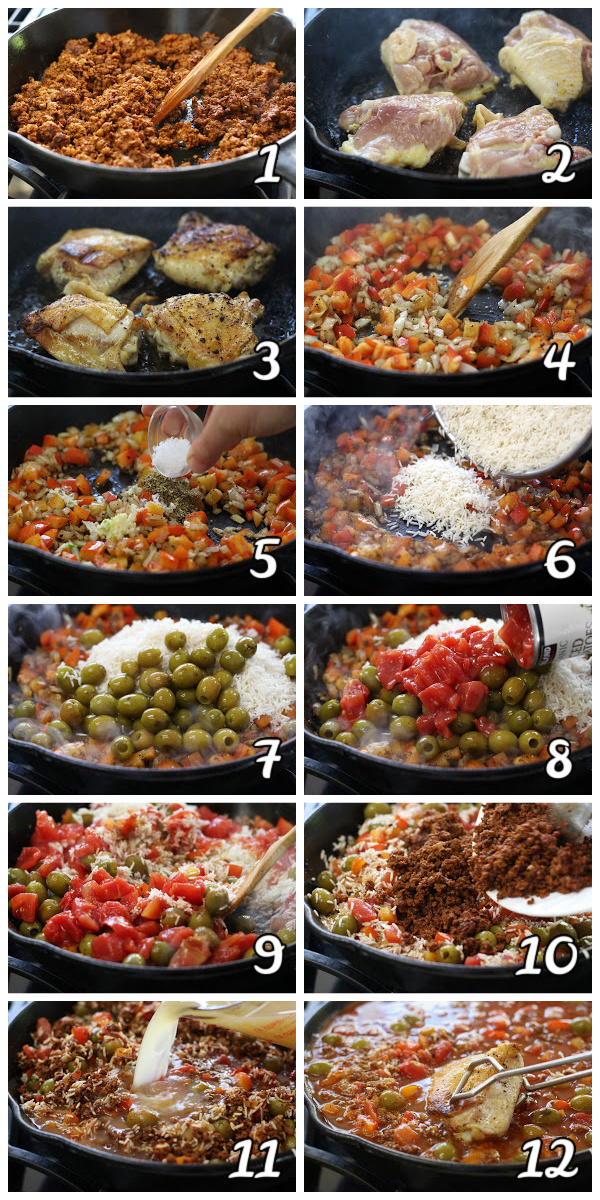 Steps to making Chicken and Chorizo Casserole.