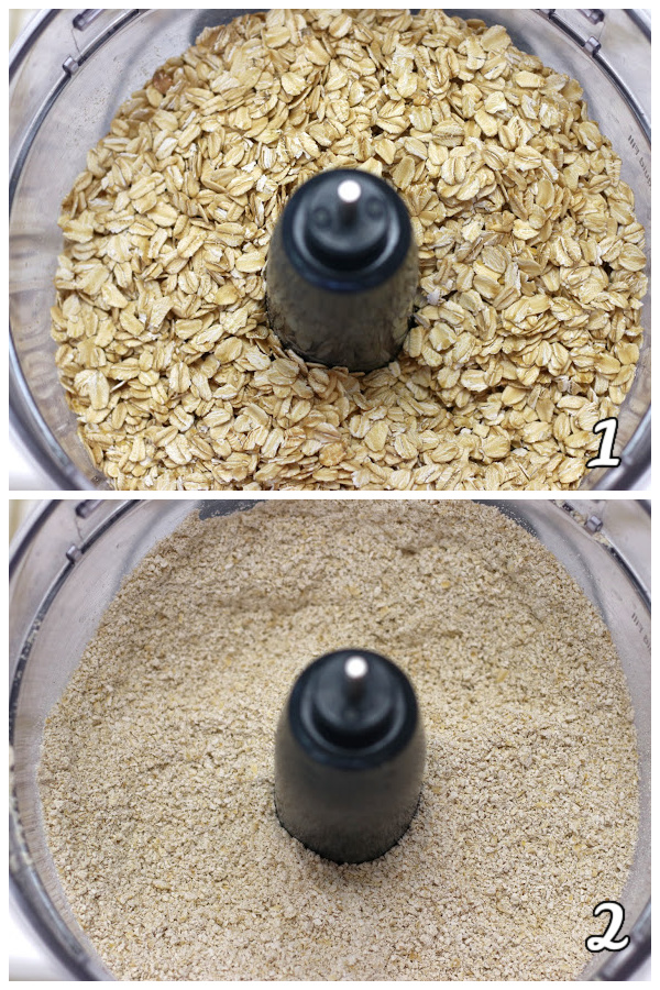 Steps showing how to make ground oats for Vegan Chocolate Chip Cookies.