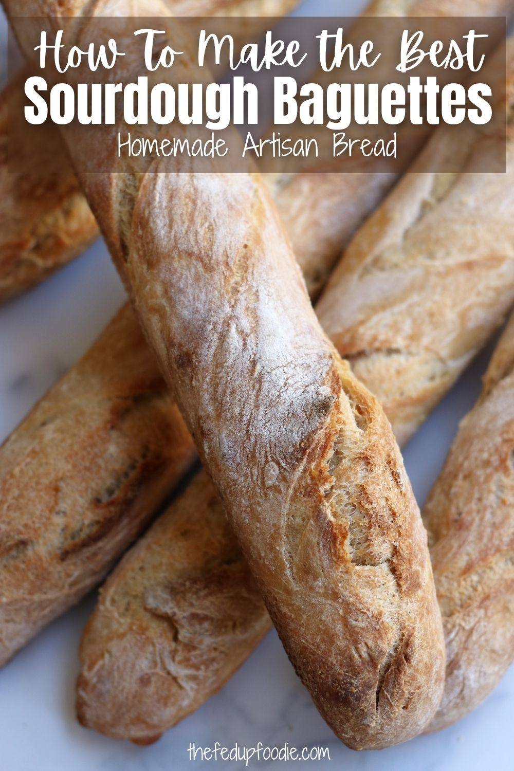 Artisan homemade Sourdough Baguettes are so much easier to make than they seem. This recipe makes baguettes with a gorgeous crusty exterior and a fluffy interior. Use these Baguettes to make breadcrumbs, croutons, sandwiches or just enjoy them by themselves. #SourdoughBaguetteRecipe #SourdoughBaguette #SourdoughBaguetteRecipeWithStarter #SourDoughBaguetteRecipe #ArtisanBreadRecipes #RusticBreadRecipeEasy #BestHomemadeBread