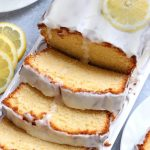 Slices of Italian Lemon Pound Cake on a white platter.