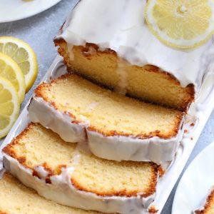 Overhead photo of Italian Pound Cake garnished with lemon slices.