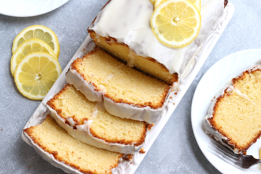 Slices of glazed Lemon Pound Cake that is made with oil.