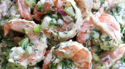 Up close photo of Shrimp Salad on a bed of butter leaf lettuce.