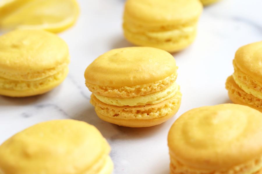 Lemon French Macarons filled with lemon buttercream.